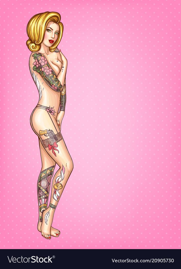 Pop art of naked tattooed girl