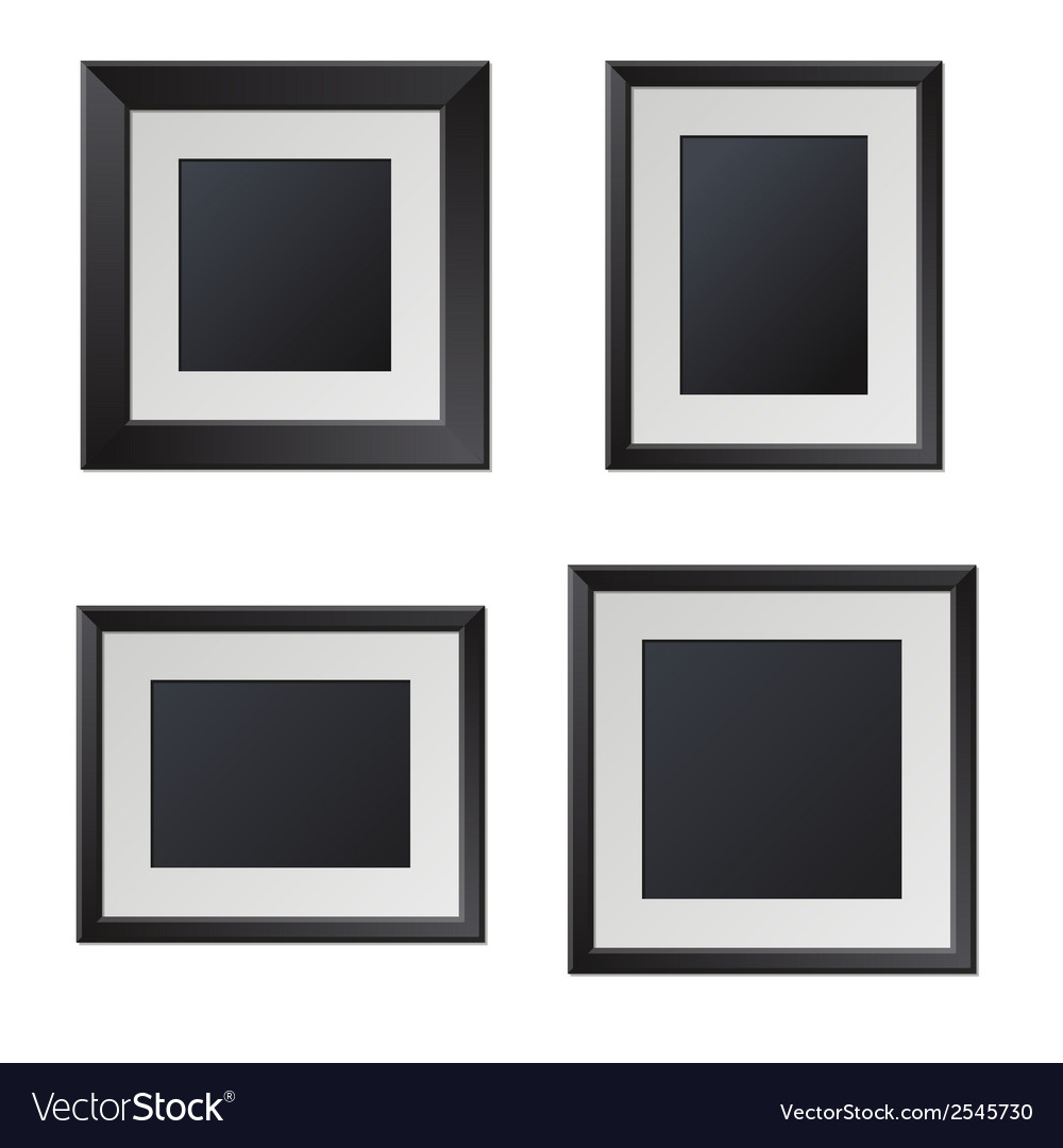 Realistic Black Picture Frames with Blank Center