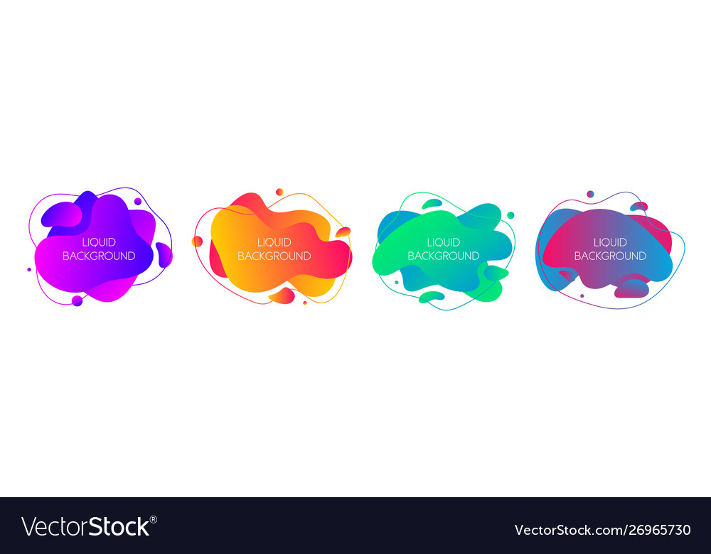 Set 4 abstract modern graphic liquid elements