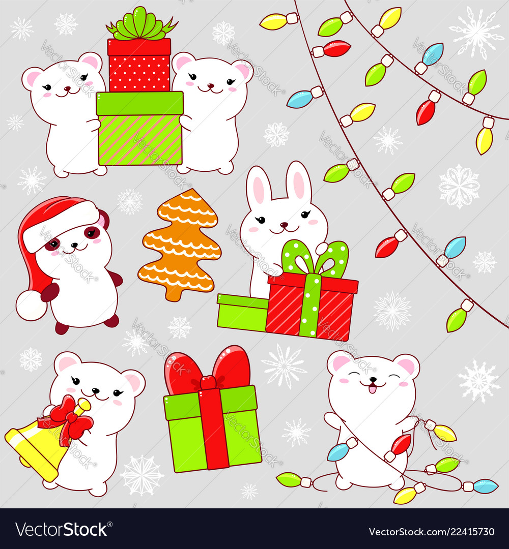 Cute Christmas Party.Set Of Cute Christmas Party Icons In Kawaii Style