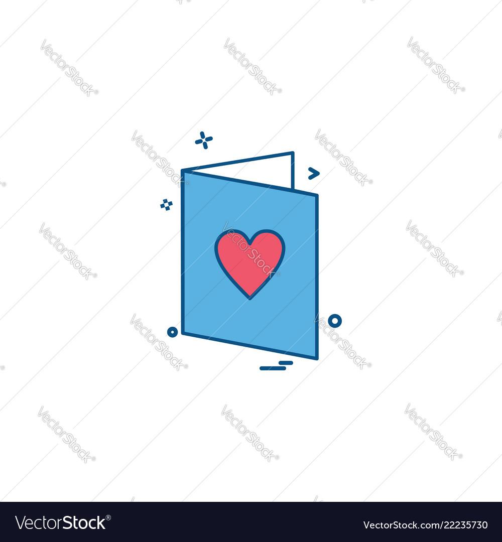 Valentines card heart love letter icon design