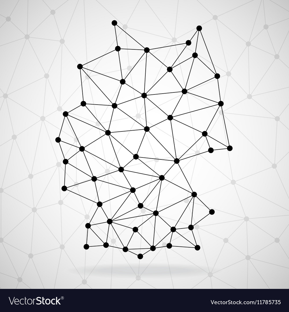 Abstract polygonal Germany map with dots and lines vector image