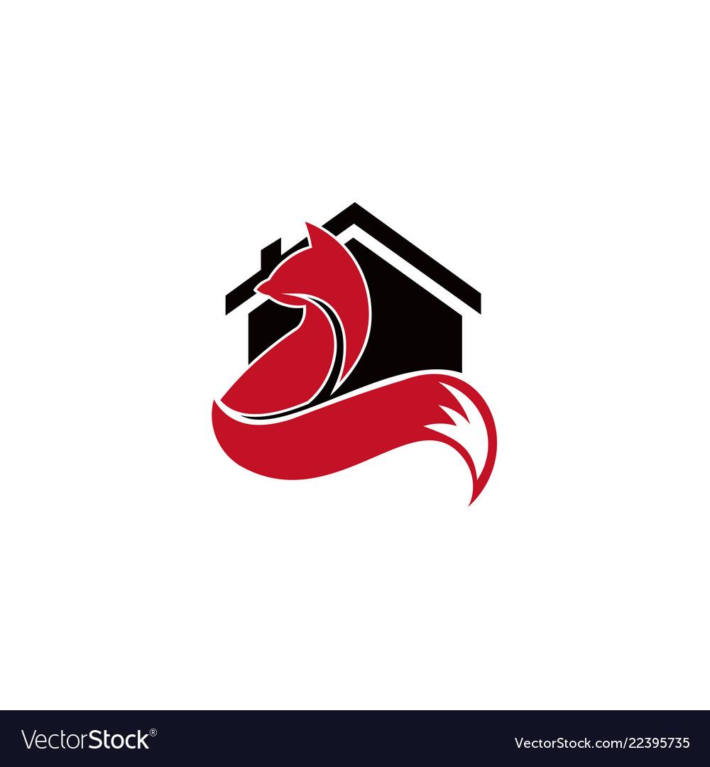 Animal fox real estate home logo design template