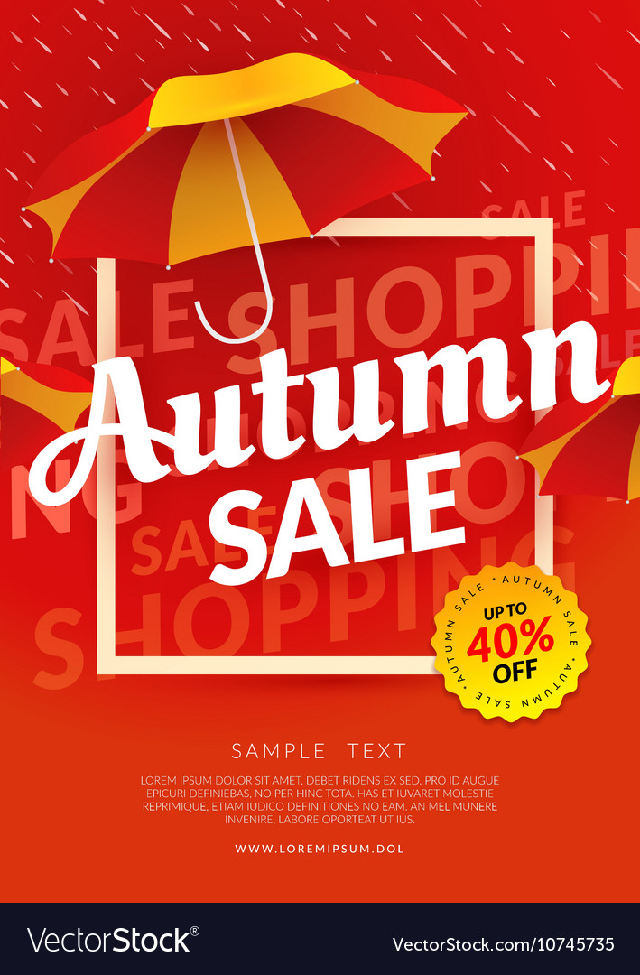 Autumn sale poster template with umbrella