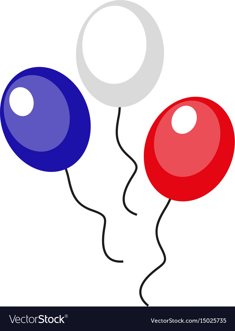 Balloons blue red white icon flat style 4th