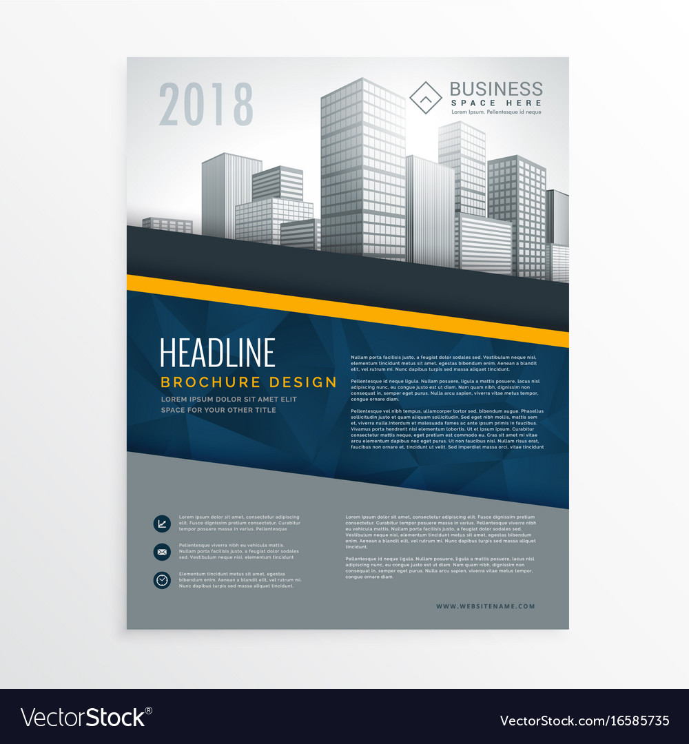 blue annual report brochure cover page design vector image