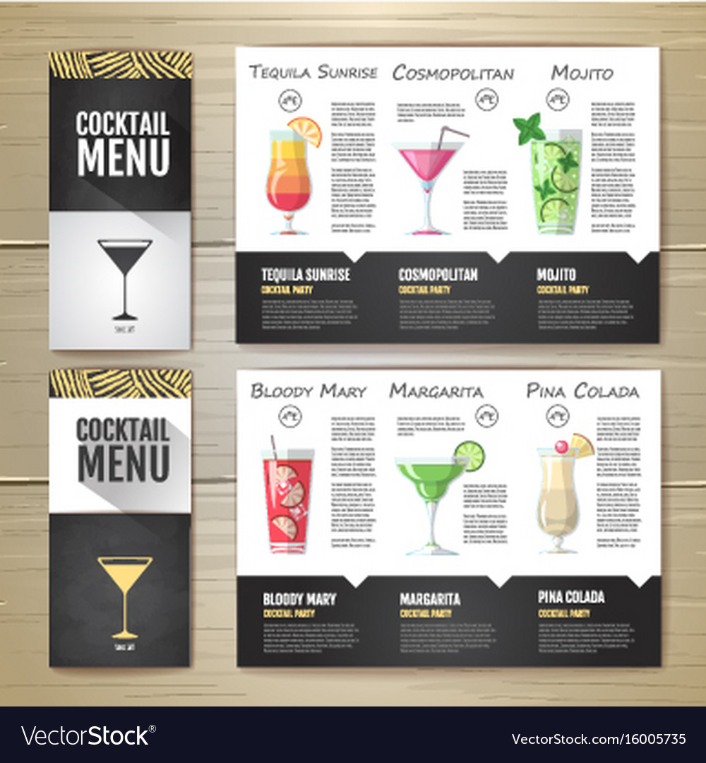 Flat cocktail menu concept design