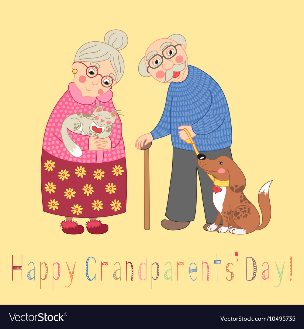 Happy grandparents day card Poster with cute vector image