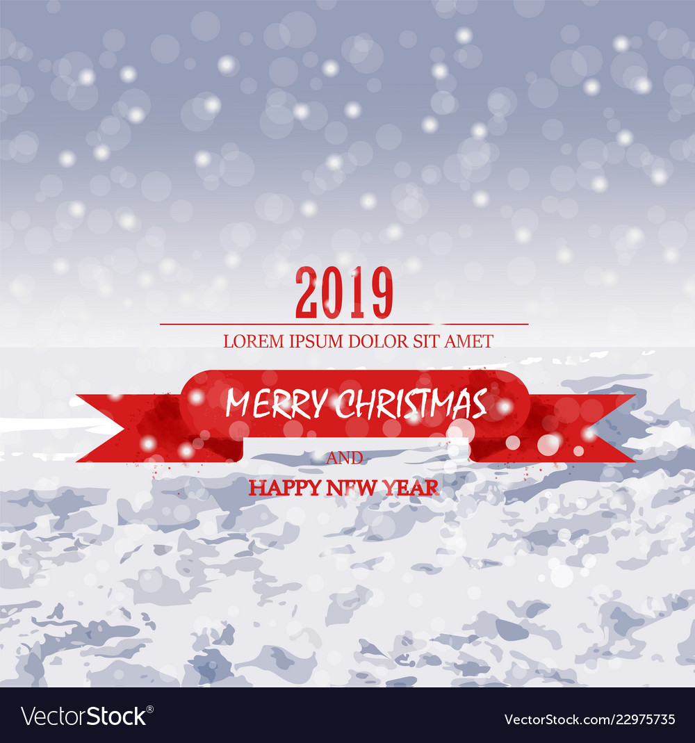 Merry christmas card with snow holiday