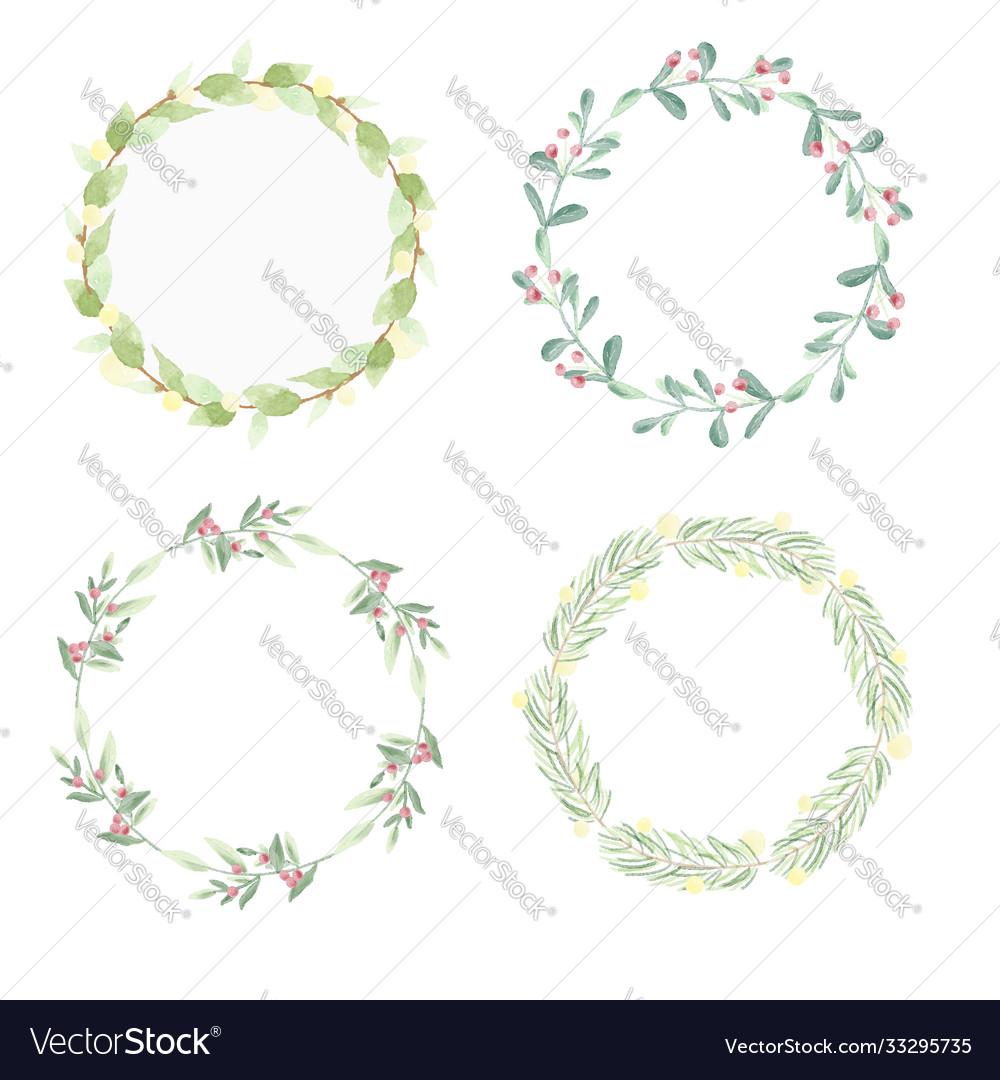Minimal christmas watercolor leaf wreath frame