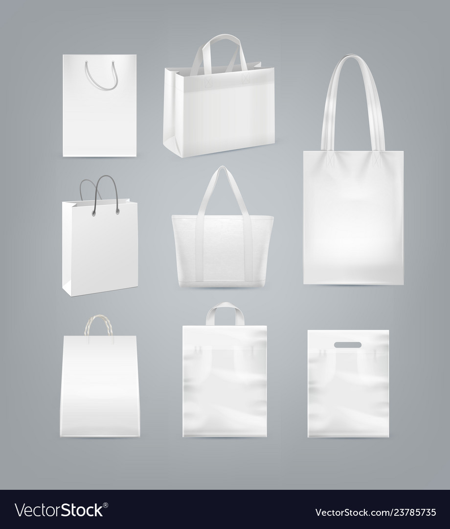 Set of shopping bags with handle made from