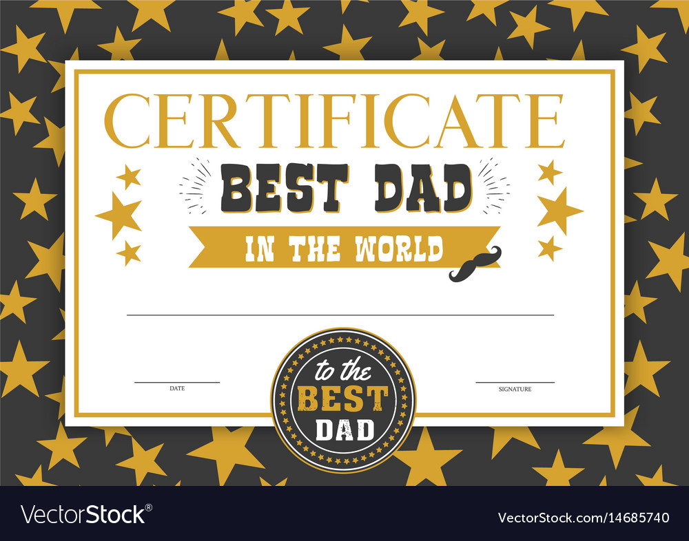best dad in the world certificate royalty free vector image