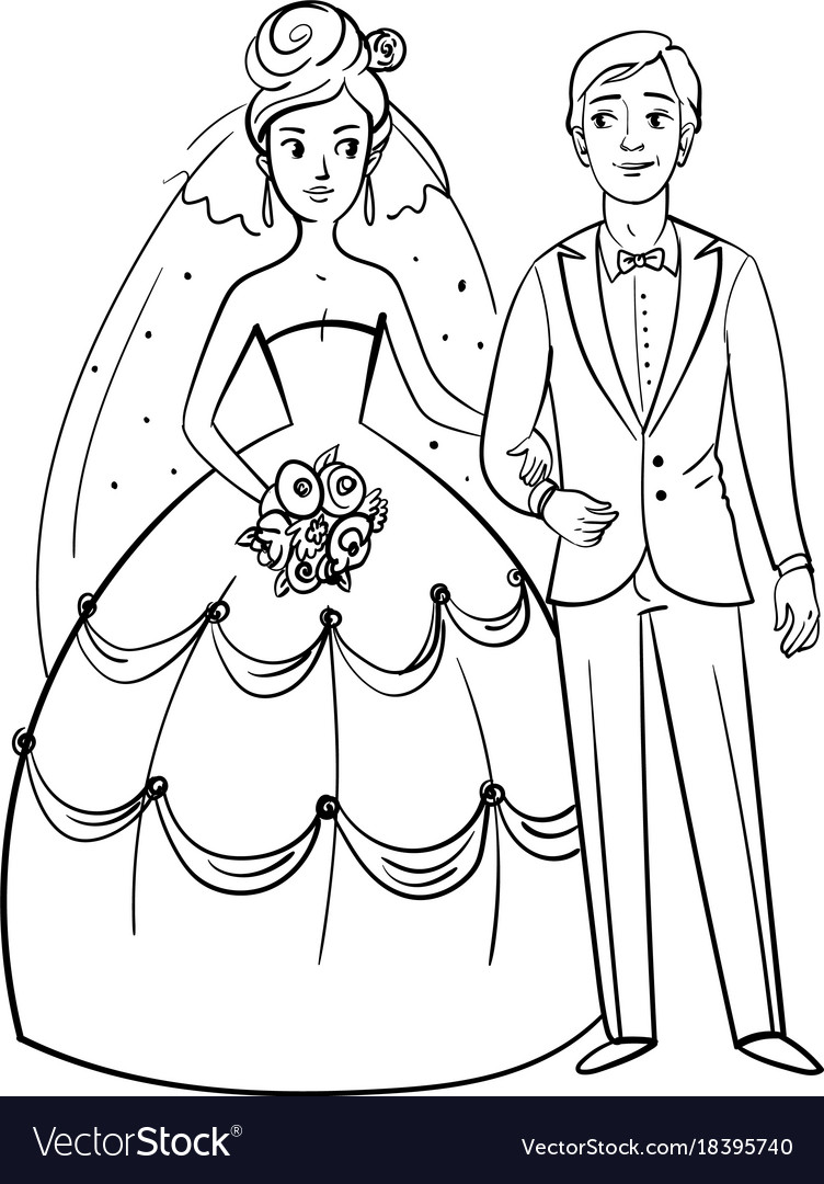 Bride and groom funny cartoon character