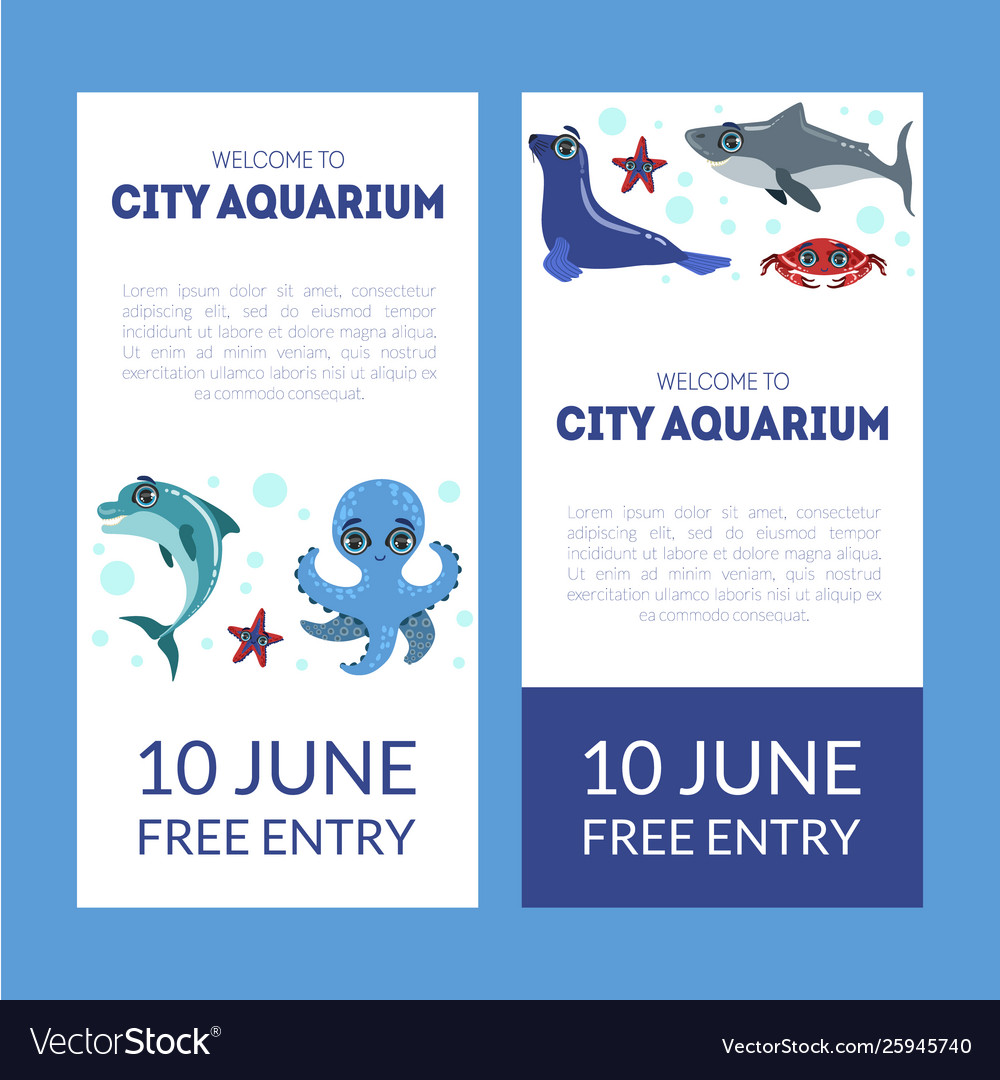 City Aquarium Exhibition Banner Templates Set