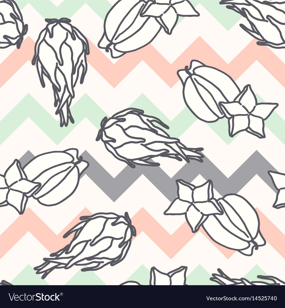 Fruits pattern seamless background with carambola
