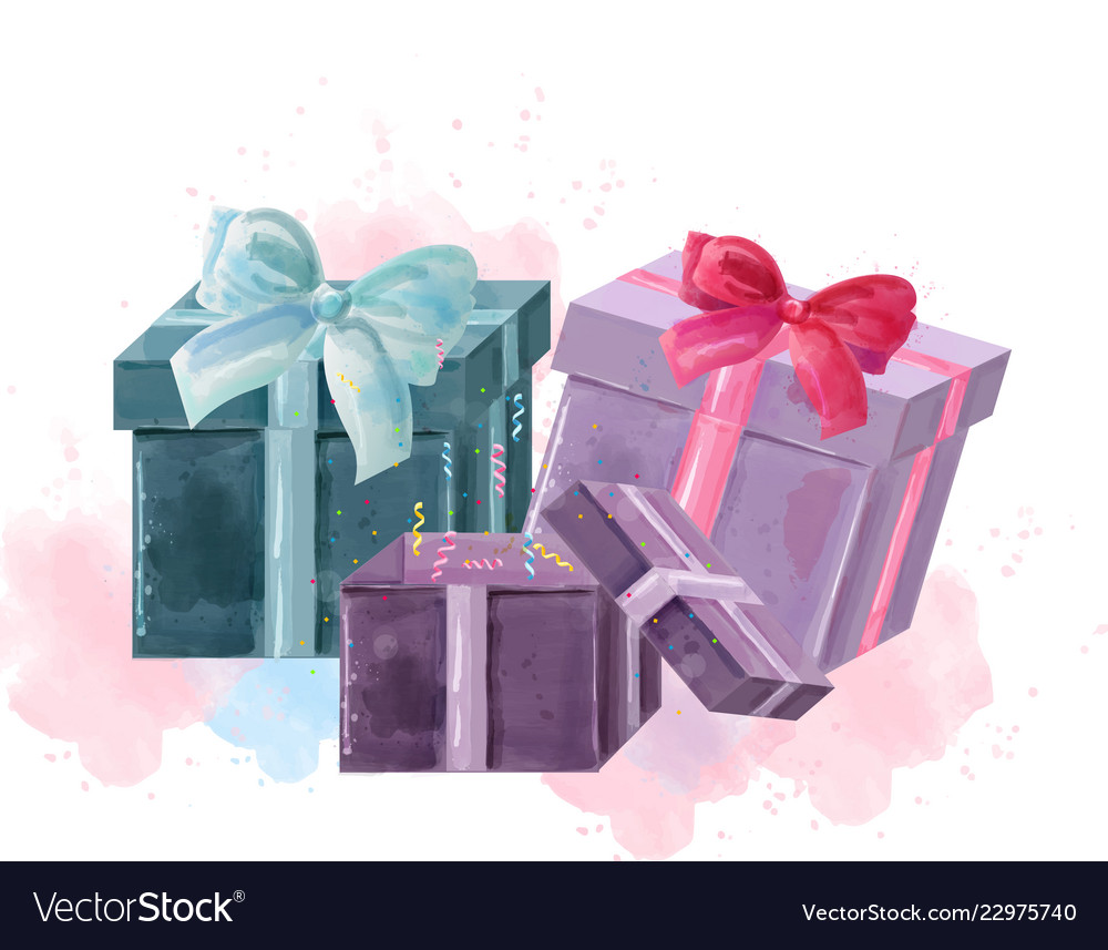 Gift boxes watercolor isolated on white