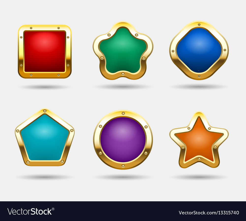 Golden game buttons isolated on white background