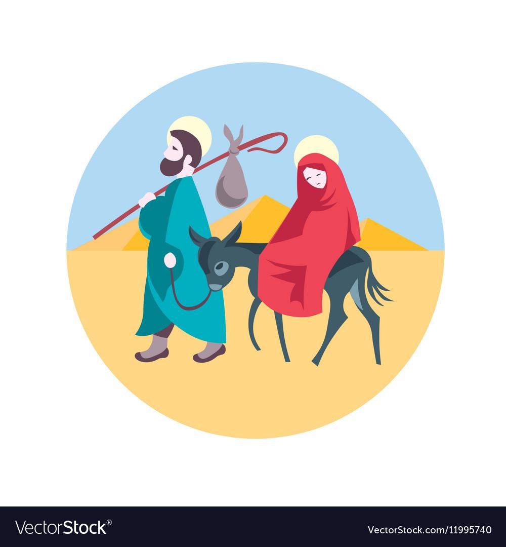Mary and Joseph flee to Egypt Nativity Jesus Illus