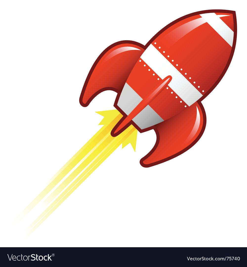 Retro rocket ship vector image