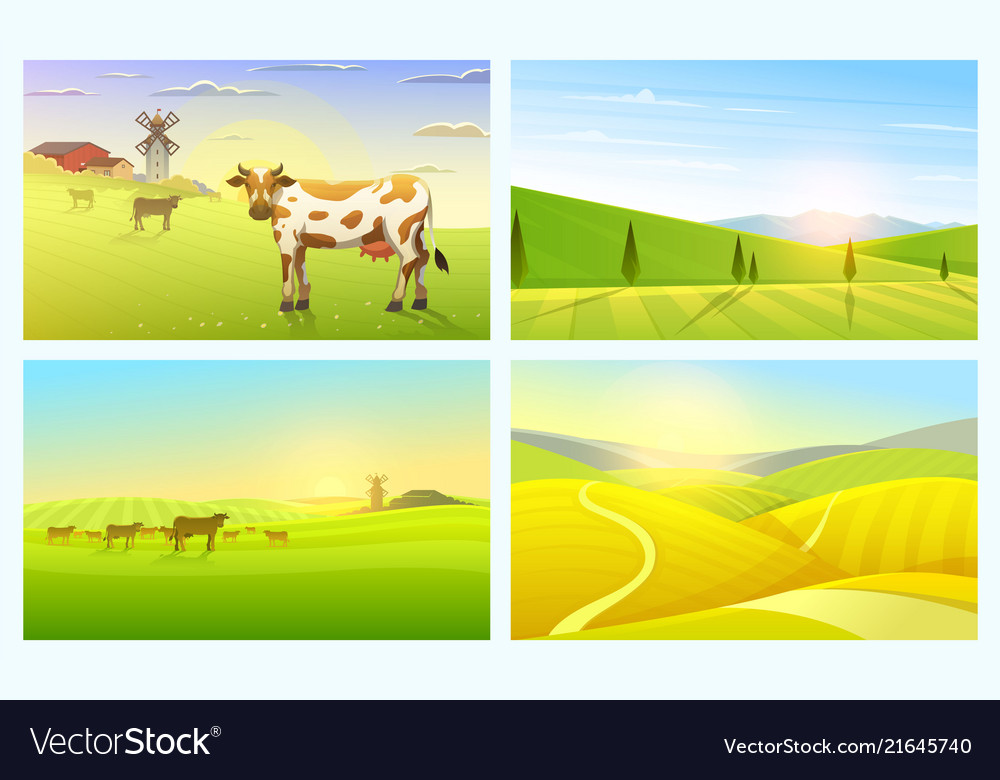 Rural landscape or meadow farm agriculture