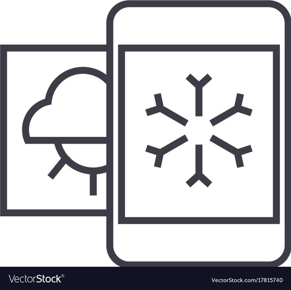 Weather mobile smartphone line icon sign