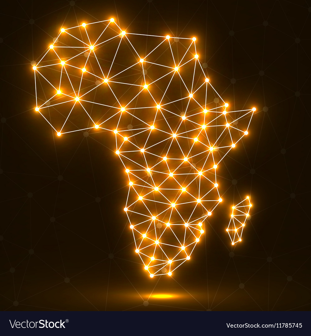 Abstract polygonal Africa map with glowing dots