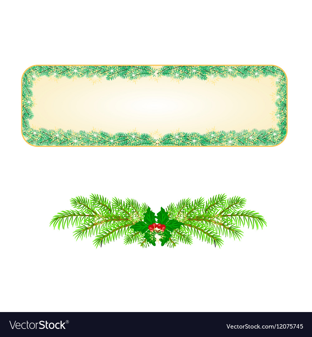 Banner Christmas Spruce and snowflakes vintage