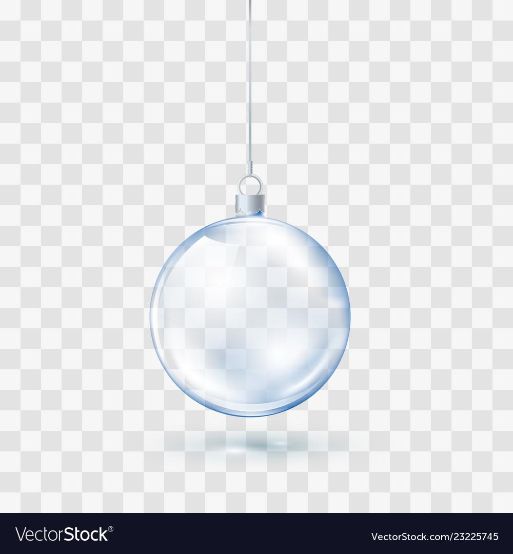 Blue glass transparent christmas ball xmas glass