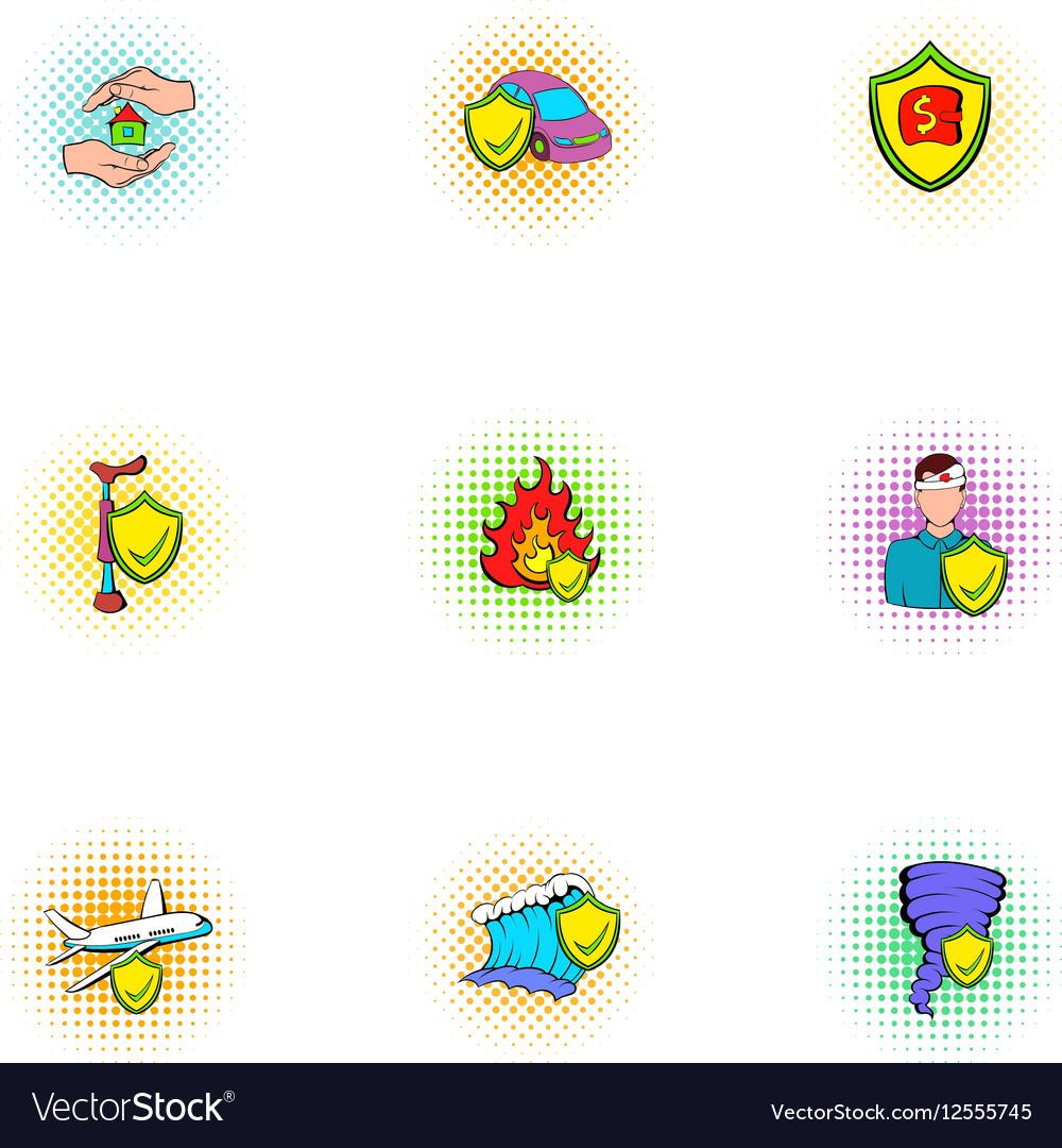 Crash icons set pop-art style vector image