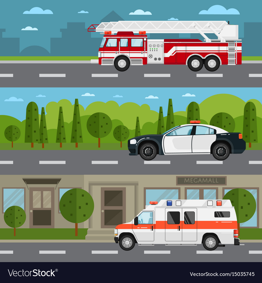 Fire truck police and ambulance car on highway