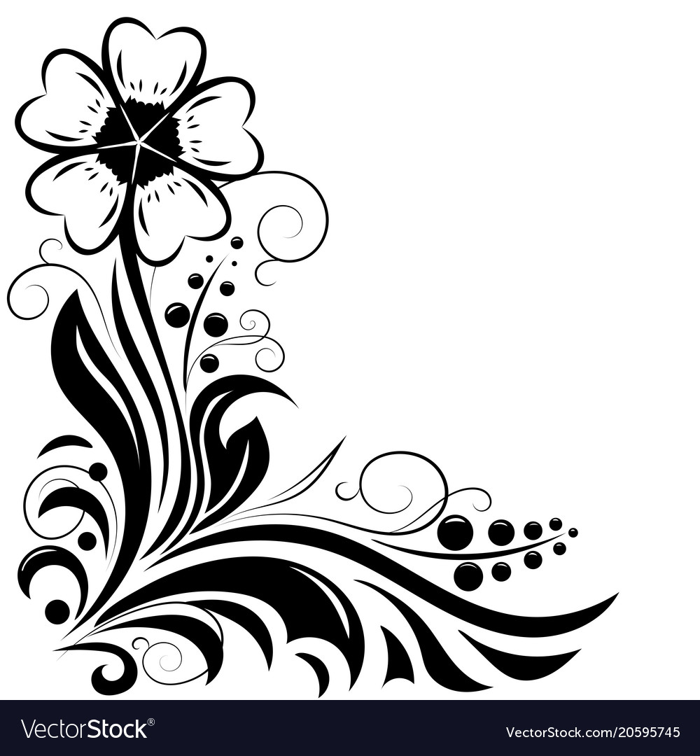 Flower decorative design for invitations and