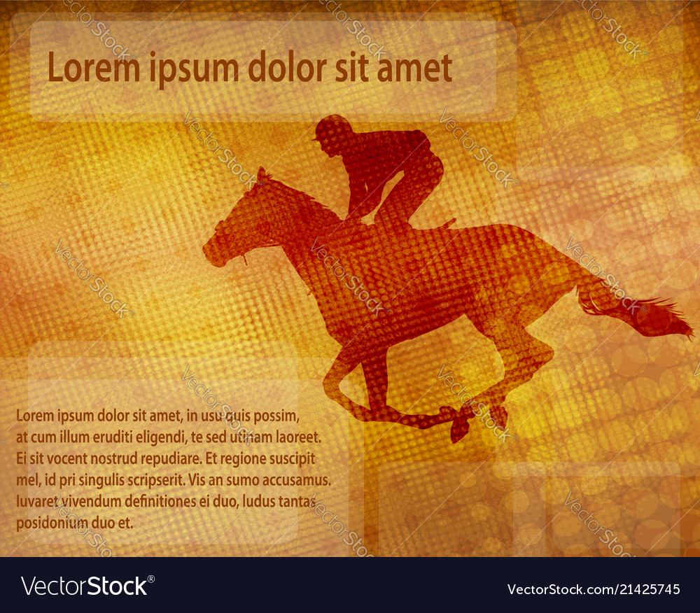 Jockey on racing horse over abstract background