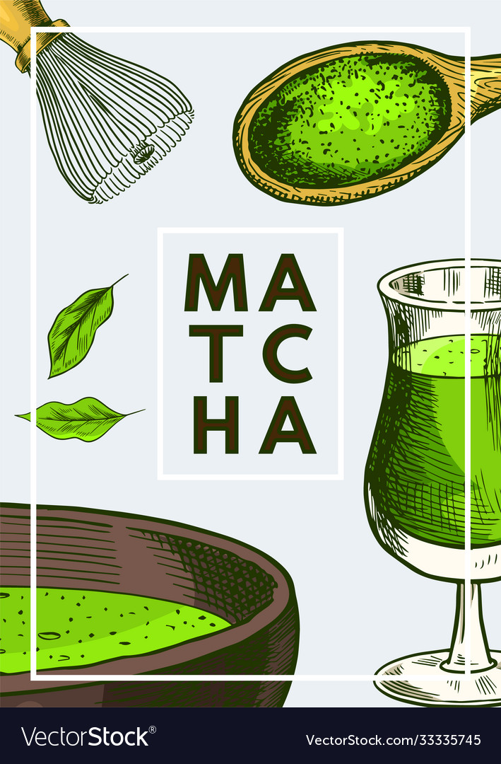Matcha green tea poster healthy milk latte
