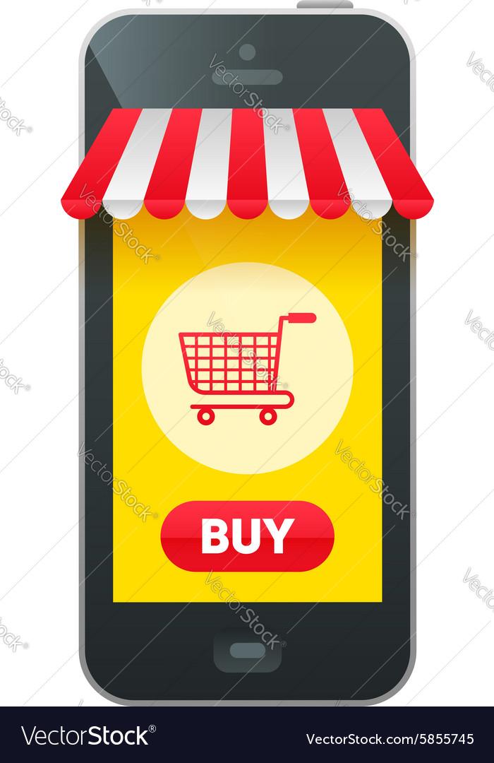 Online market in smartphone icon
