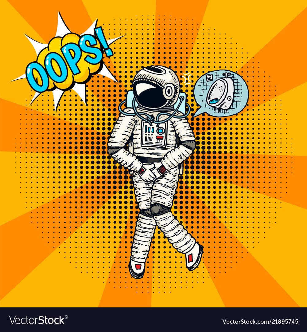 Oops pop art astronaut soaring spaceman cosmonaut