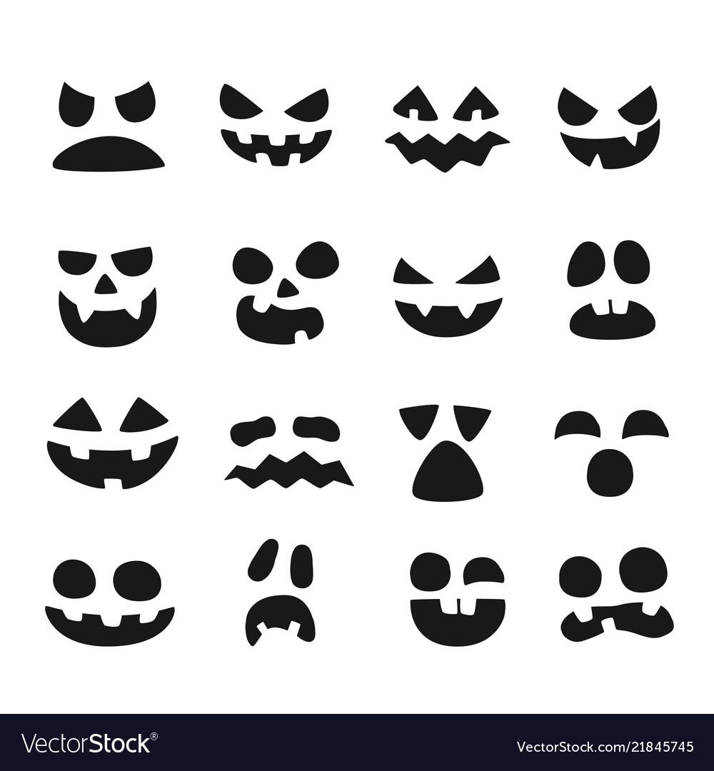 Pumpkin Faces Halloween Evil Devil Face Scary Vector Image