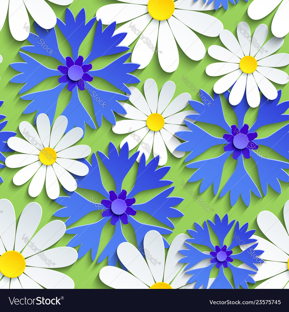 Seamless pattern with cornflower and chamomile