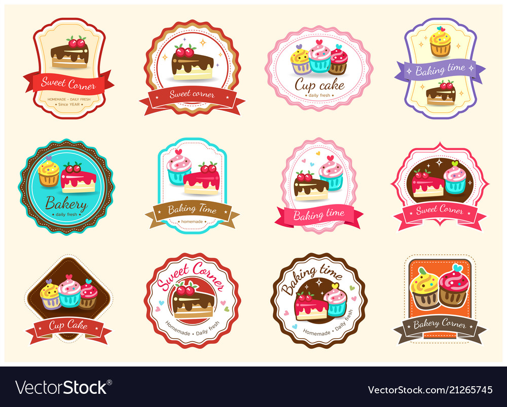 Set of cute sweet bakery badge label and logo