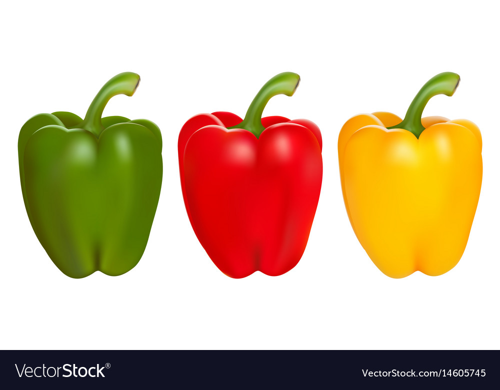 Set of red green and yellow peppers