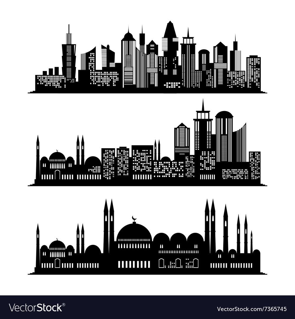 Set of skyscraper sketches City design vector image