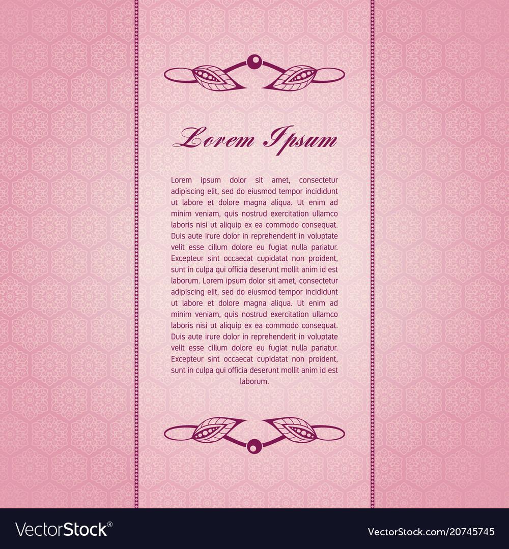 Vintage pink card vector image