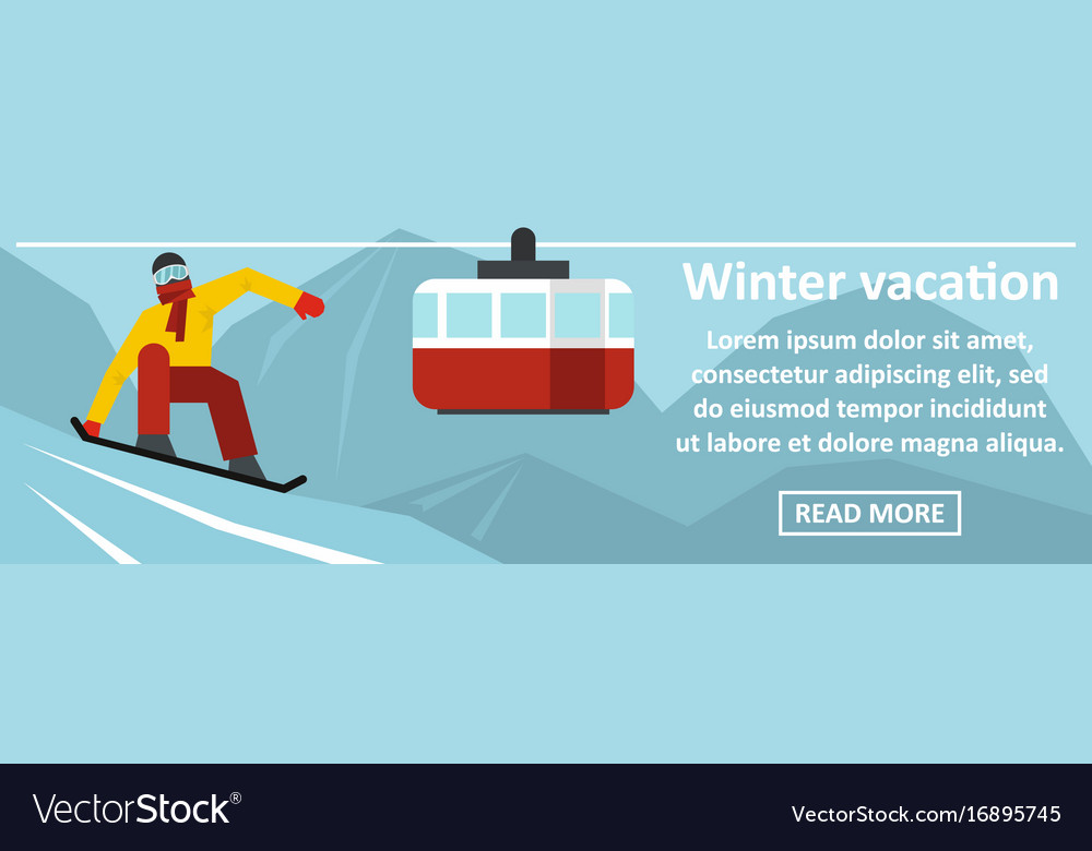 Winter vacation banner horizontal concept