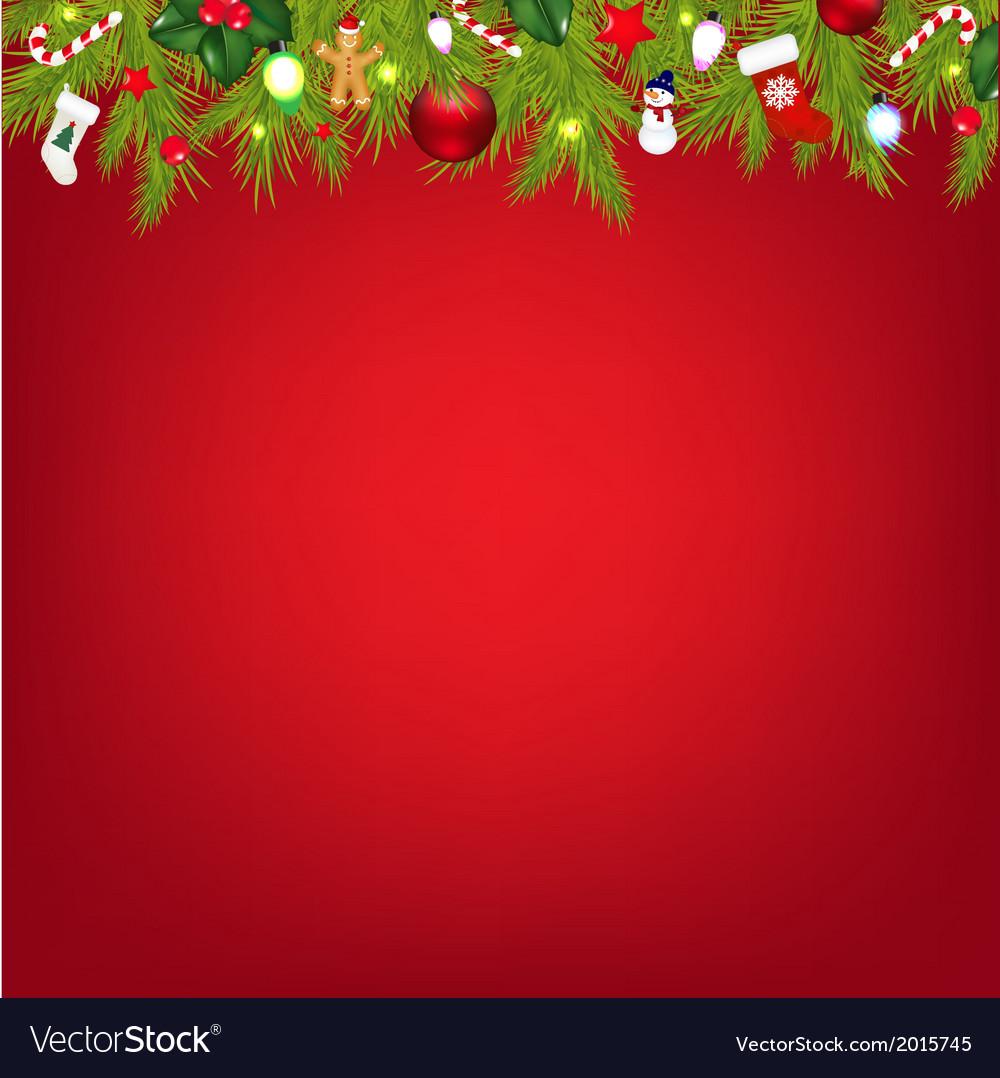 xmas border with color garland vector image