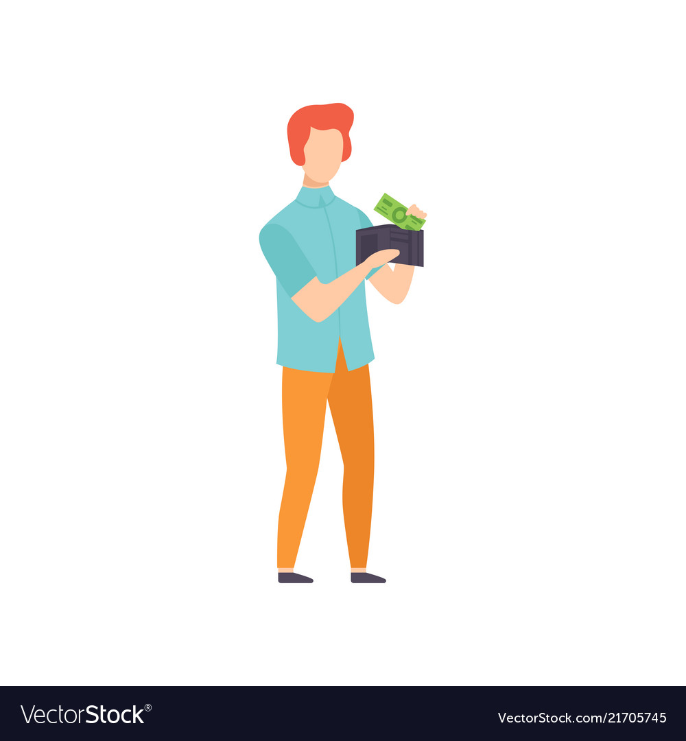 Young man holding wallet with money saving and