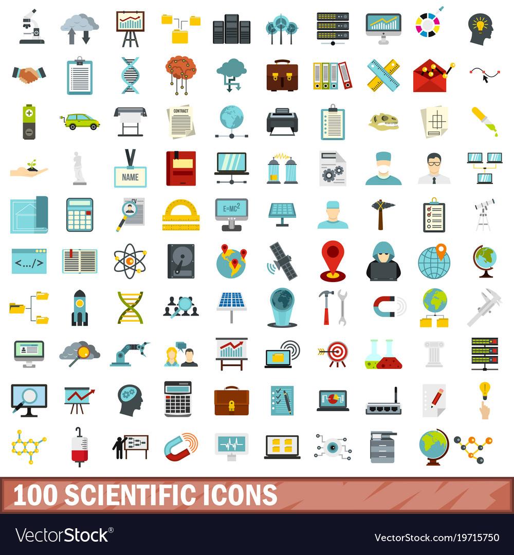 100 scientific icons set flat style
