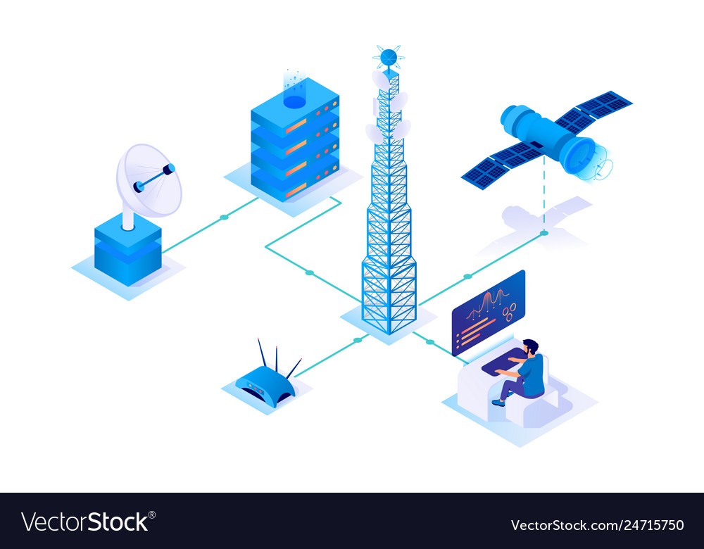 3d isometric communication network with satellite