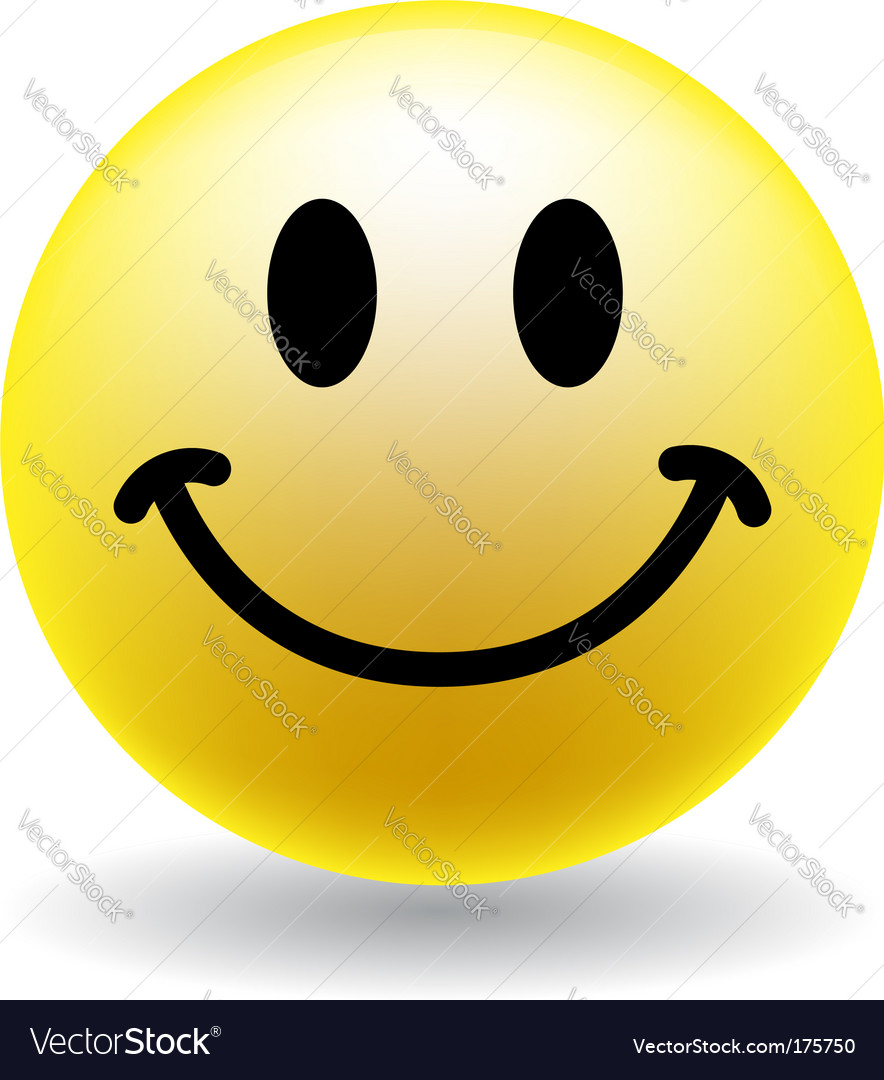 A happy smiley face button Royalty Free Vector Image
