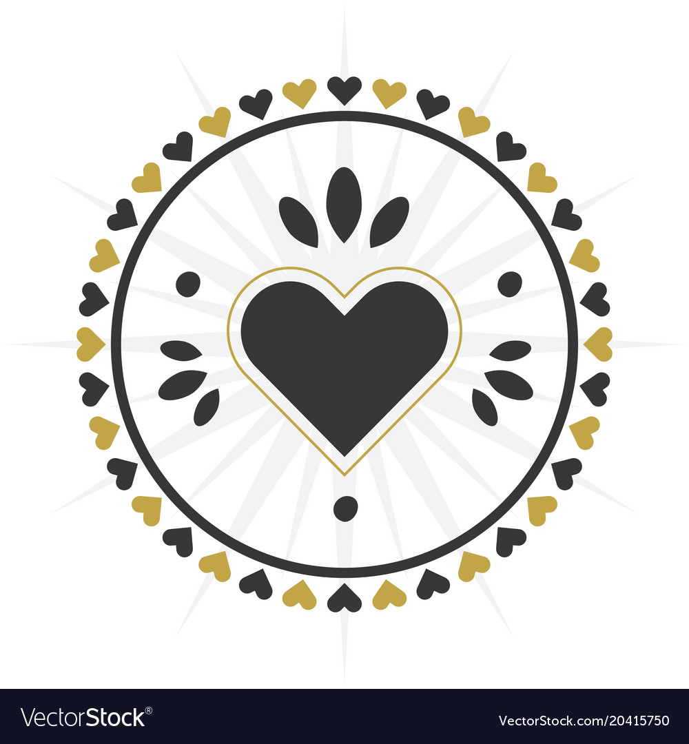 Black and golden circle heart border icon