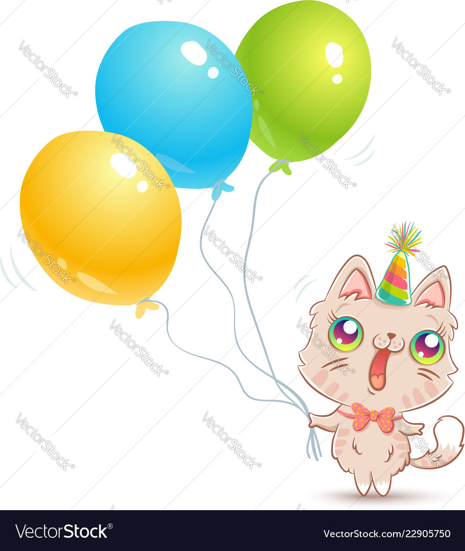 Cute cat with balloons