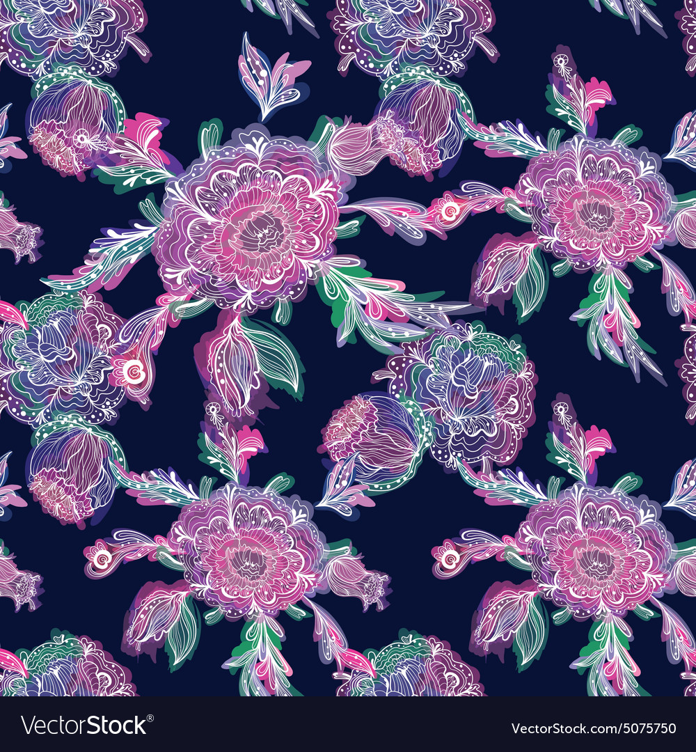 Dramatic Floral Pattern vector image